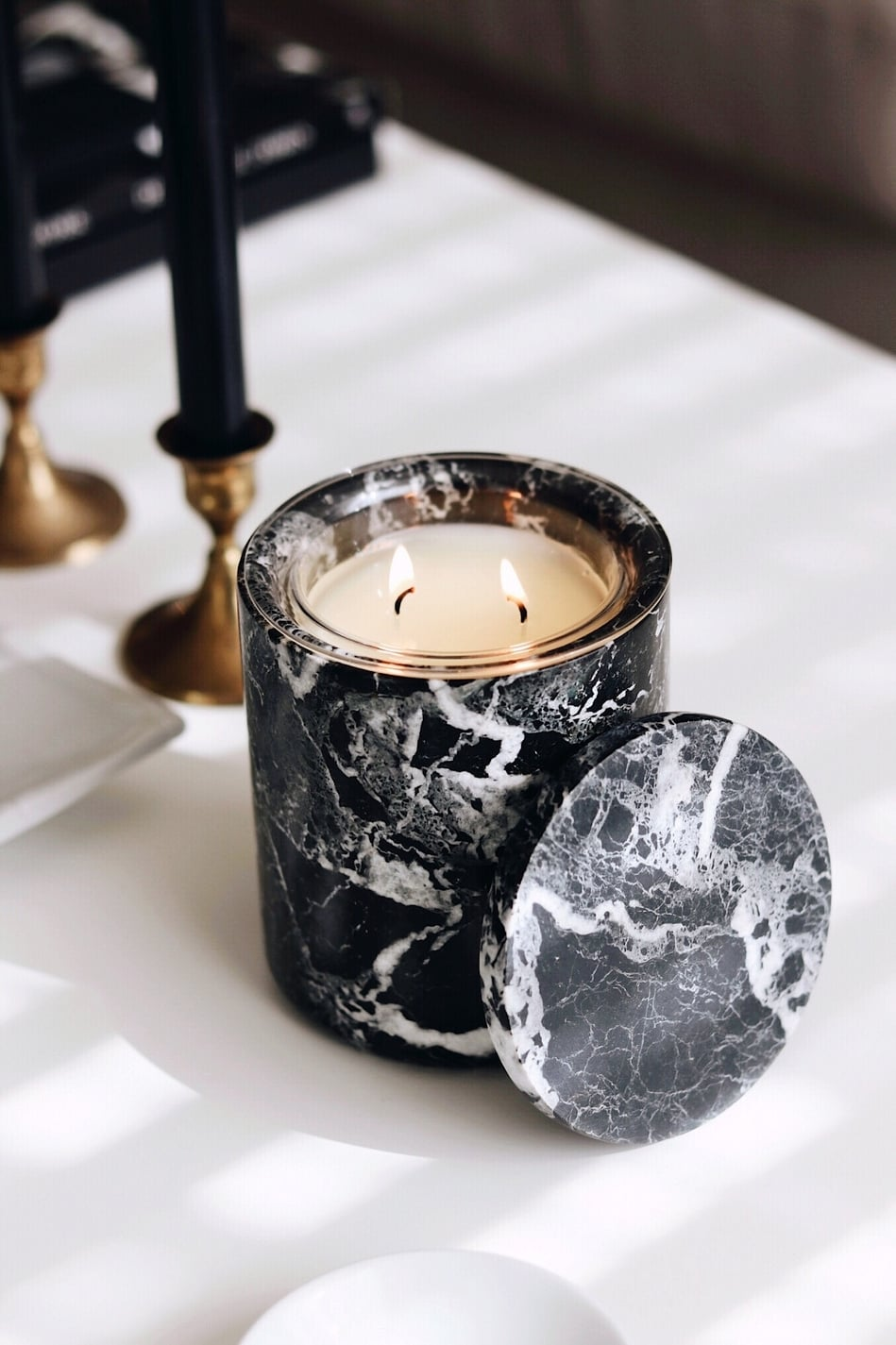 Black Marble Refillable Candle
