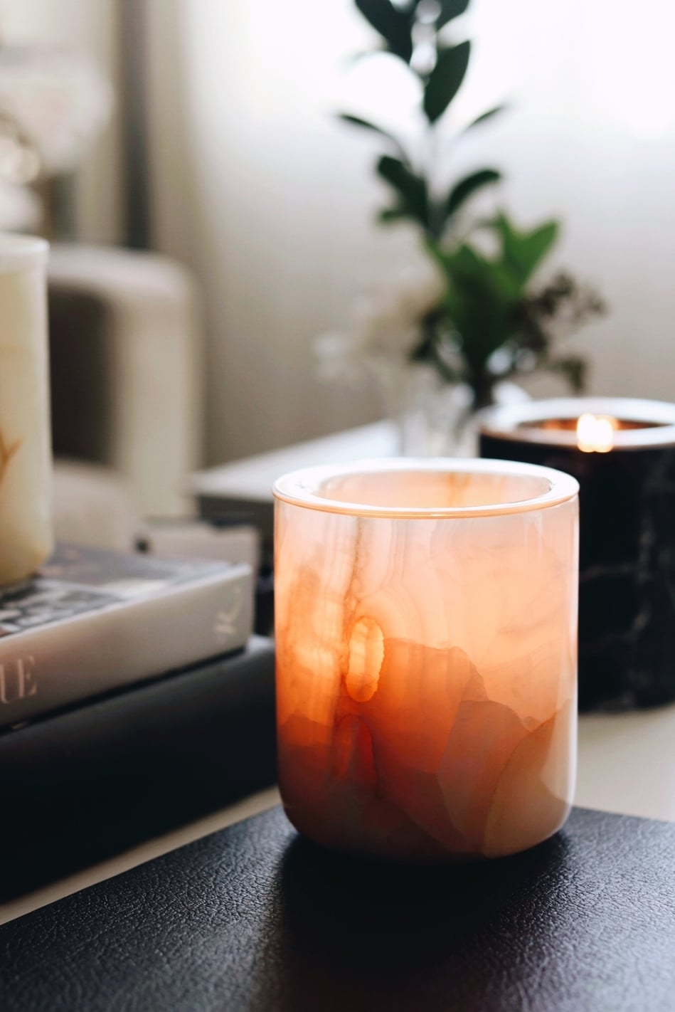 Pink Onyx Refillable Candle
